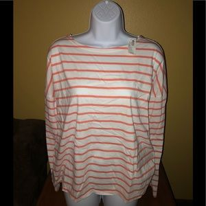 Old navy coral striped long sleeve top